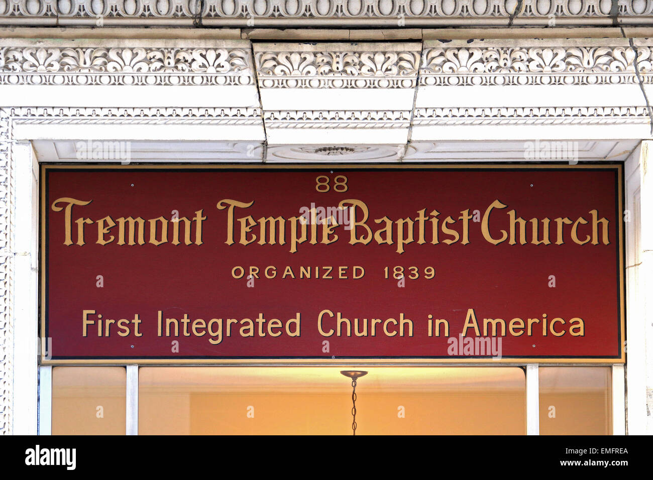 Massachusetts Boston Tremont Temple Baptist Church. Imagen De Stock