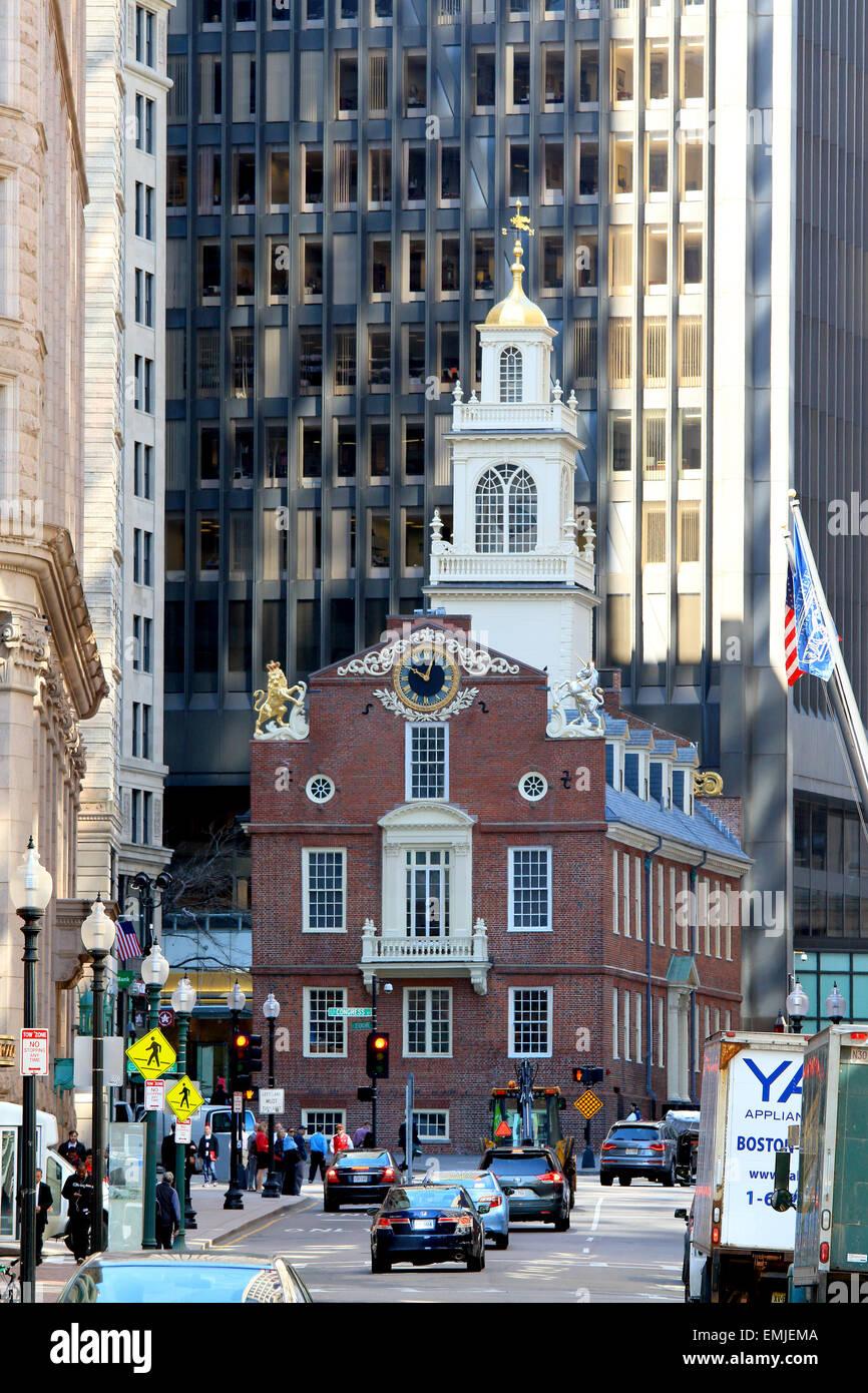 El Freedom Trail de Boston landmark. La vieja casa del estado de sitio de la Matanza de Boston. Boston, Massachusetts. Imagen De Stock