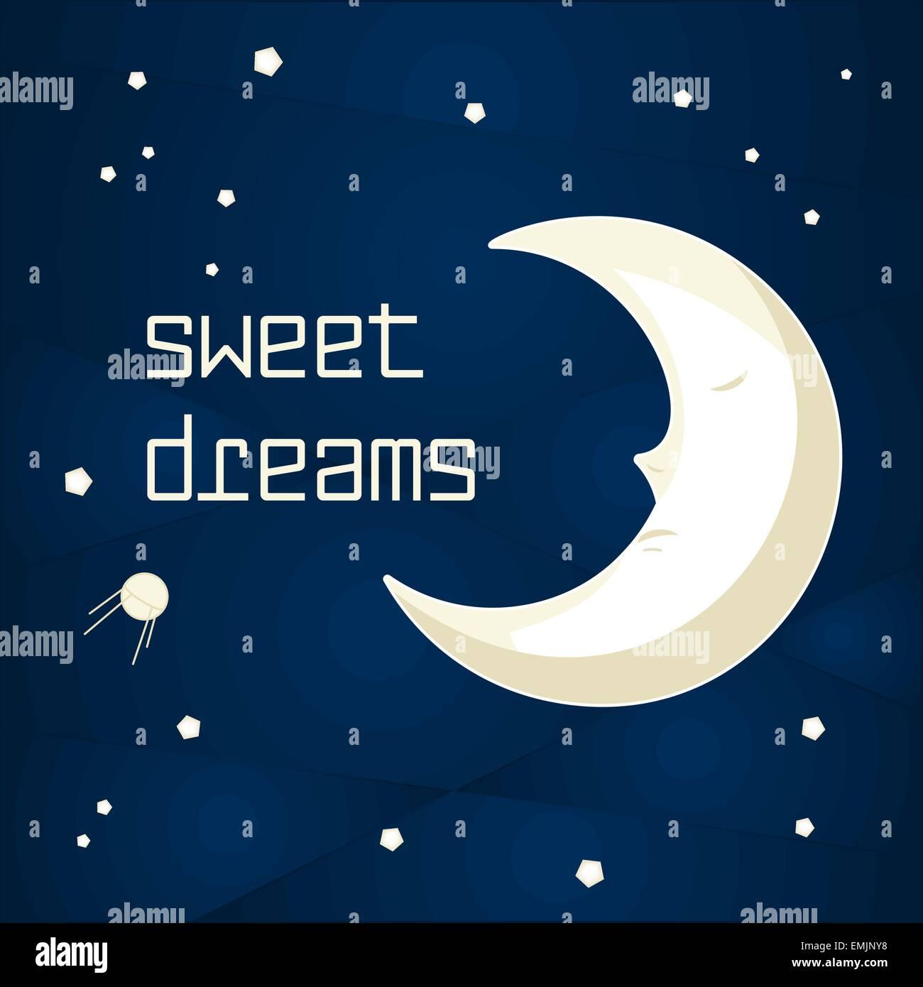 Bonita Caricatura Luna Durmiendo En El Cielo Nocturno Con Estrellas