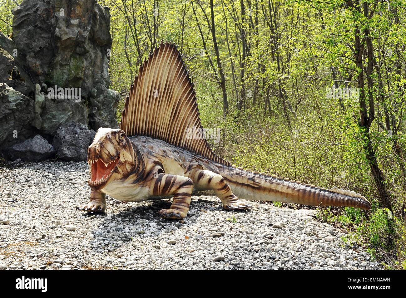 Modelo del extinto dinosaurio Dimetrodon Foto de stock