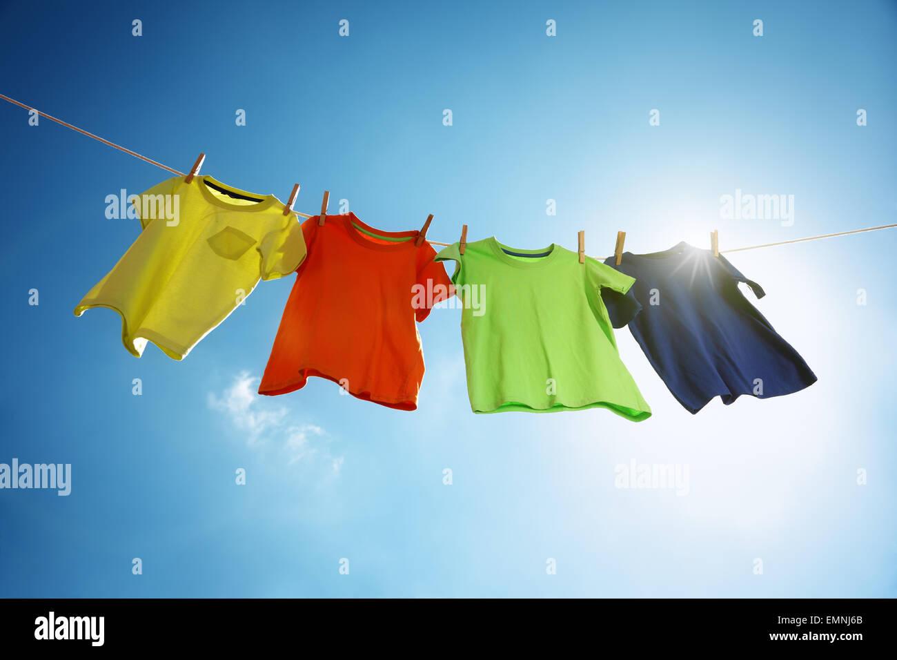 Tendedero y lavandería. Imagen De Stock