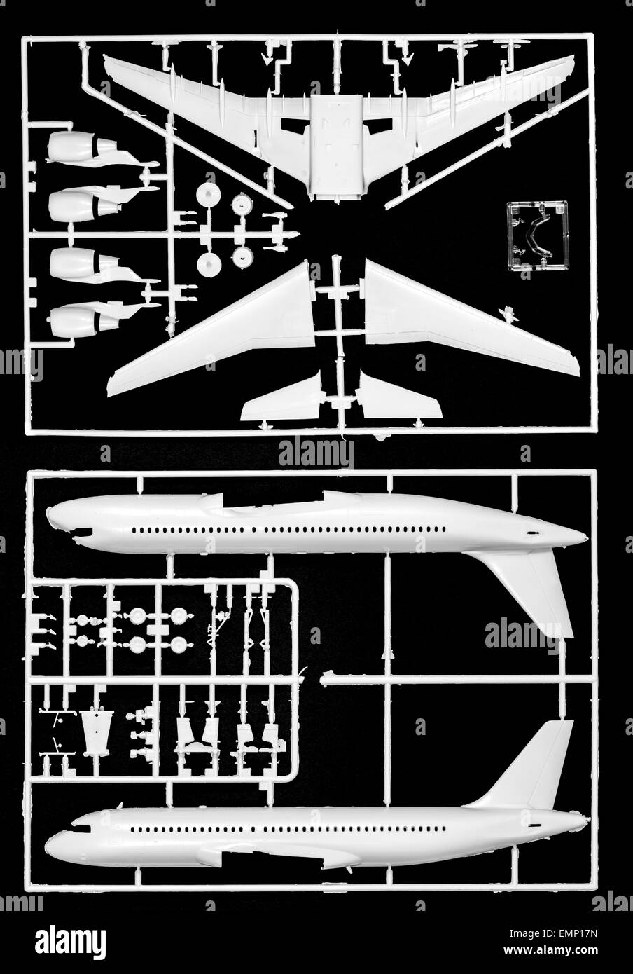 Imagen simbólica, la industria aeroespacial, aviones de plástico modelo kit de montaje, un avión de pasajeros, Airbus Foto de stock
