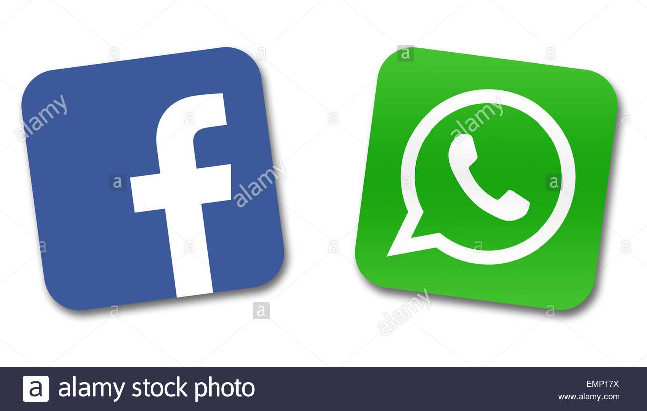Facebook Whatsapp logotipo Ícono Imagen De Stock