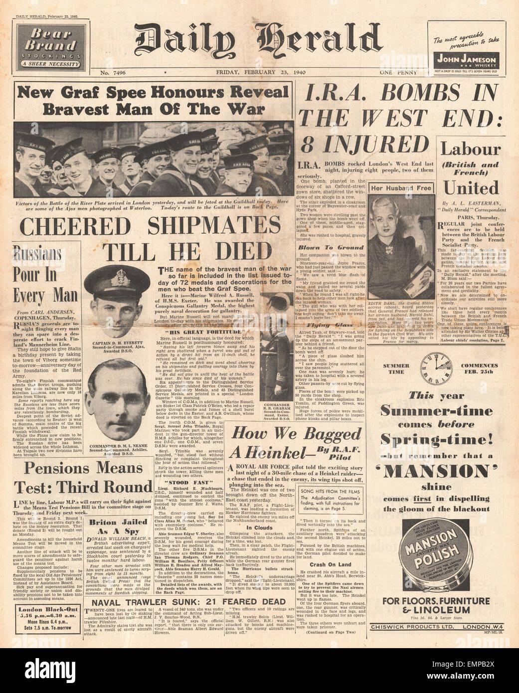 1940 Front Page Diario Heraldo Marina honrado para la batalla de River Plate I.R.A. explotar bombas en Londres Foto de stock