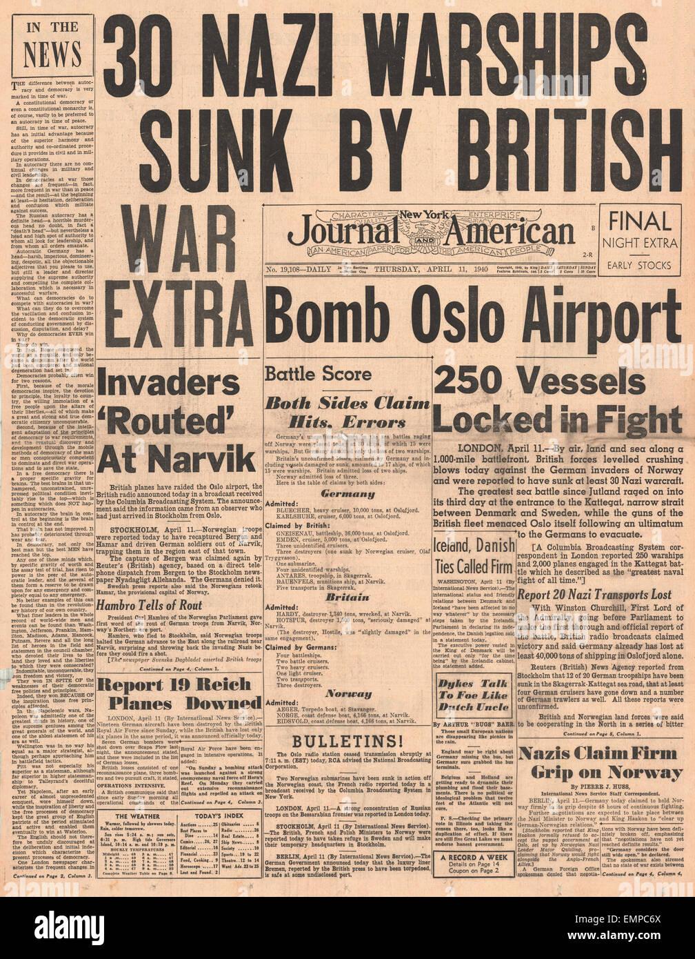 1940 Primera página New York Journal American batalla por Noruega Oslo Airport bombardeado Foto de stock