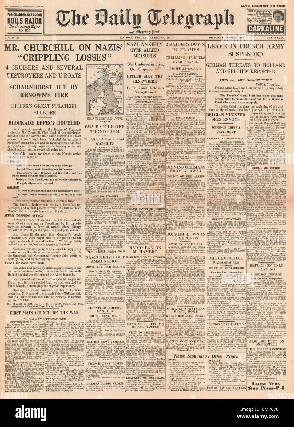 1940 Primera página Daily Telegraph Churchill declara 'pérdidas' paralizante para Alemania en la batalla de Noruega Foto de stock