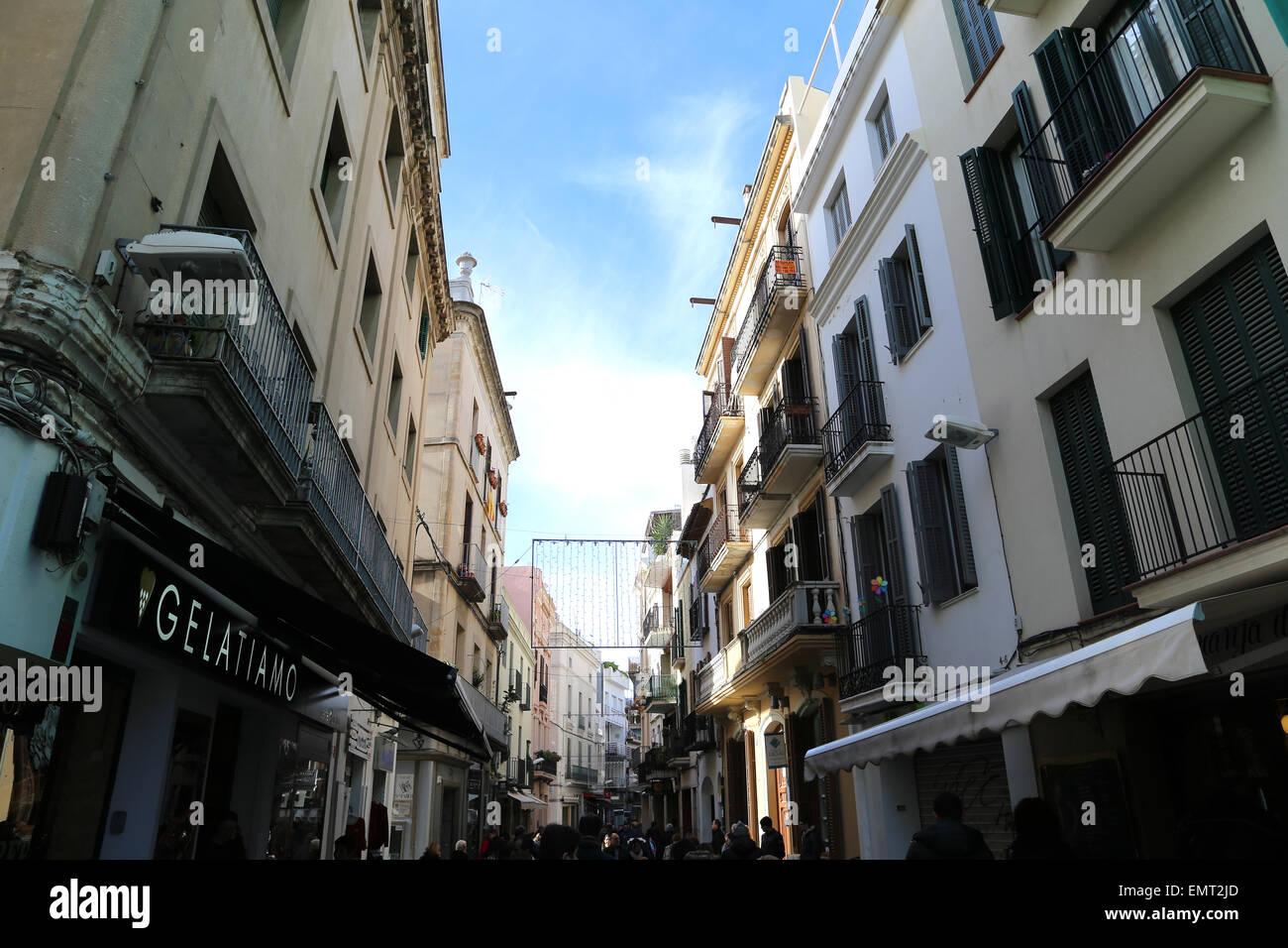 España. Cataluña. Sitges. Casco antiguo de la ciudad. Street. Foto de stock