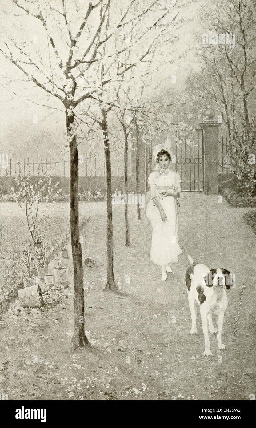 Una señora y su perro a caminar por un sendero en la primavera. La ilustración se remonta a 1917. Imagen De Stock