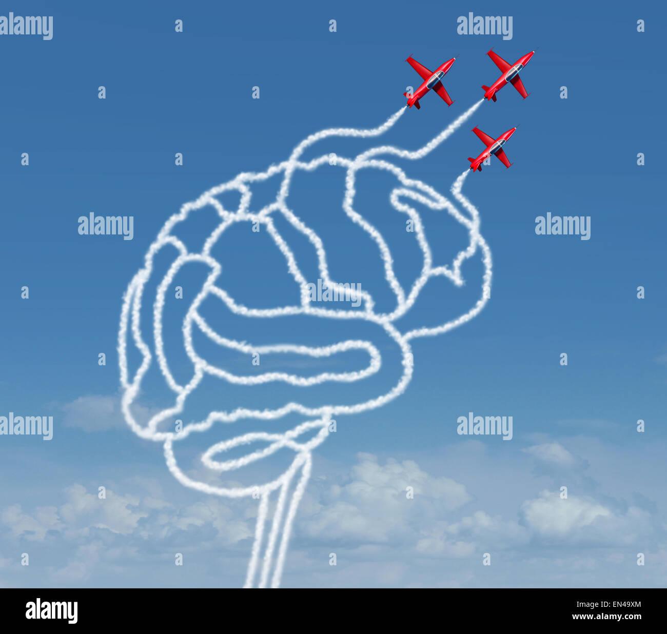 Mente posibilidad y pensando posibilidades concepto como un grupo de air show acrobáticos de aviones volando Imagen De Stock