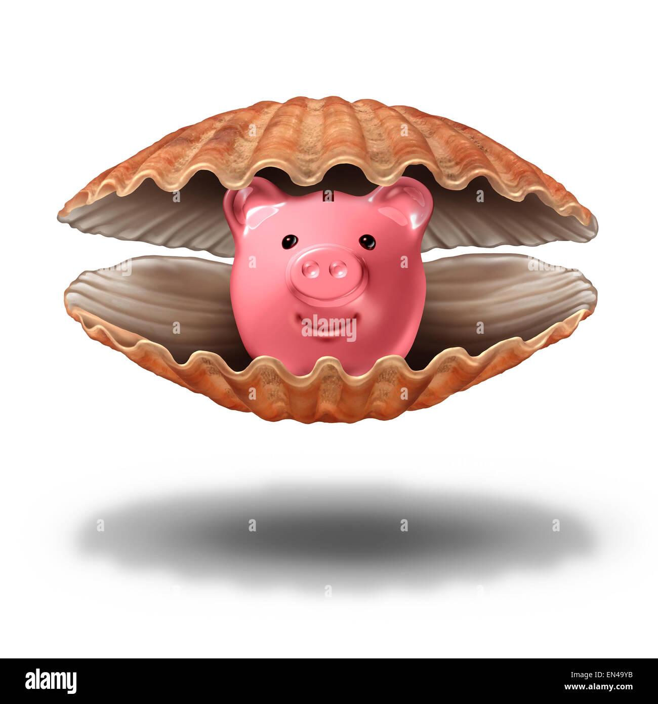 Tesoro de ahorro y riqueza financiera Fortune concepto como una concha de mar abierto con una alcancía como Imagen De Stock