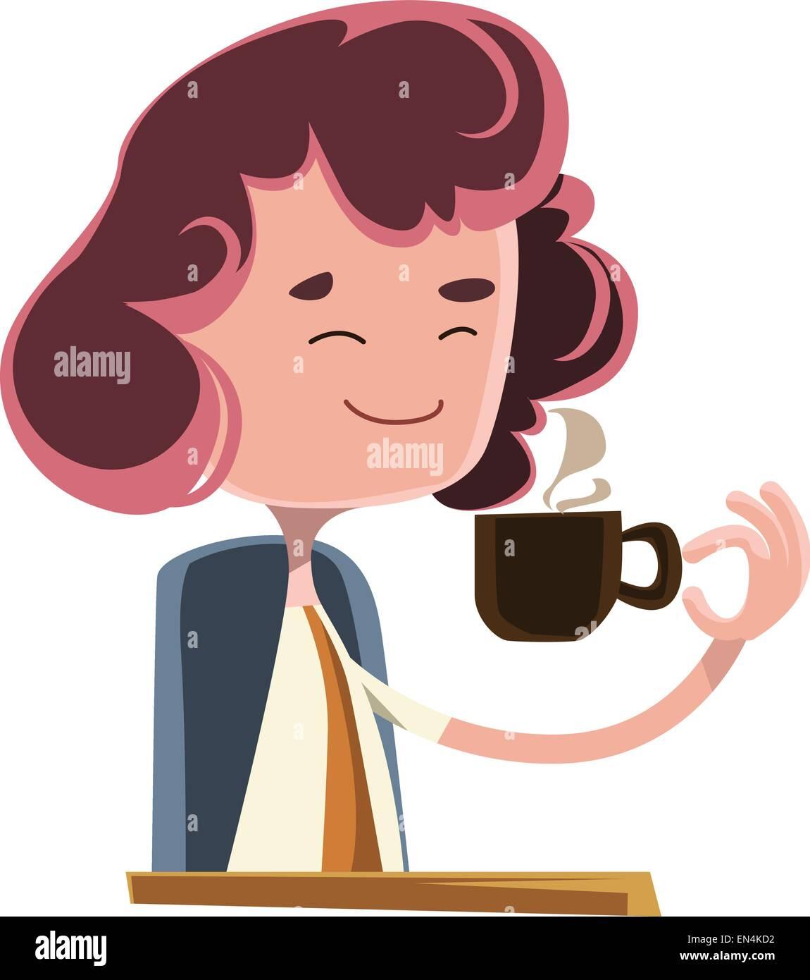 Las mujeres beber café ilustración vectorial de dibujos animados Imagen  Vector de stock - Alamy