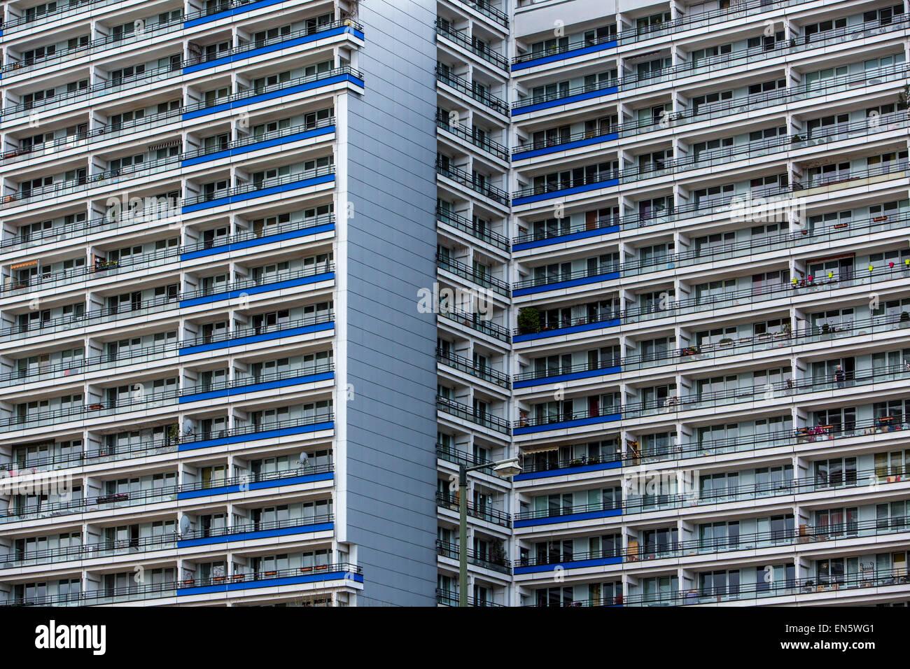 Apartamento rascacielos, hasta 25 pisos, construido en Ther 1960, Berlín oriental, más de 2.000 apartamentos, Imagen De Stock