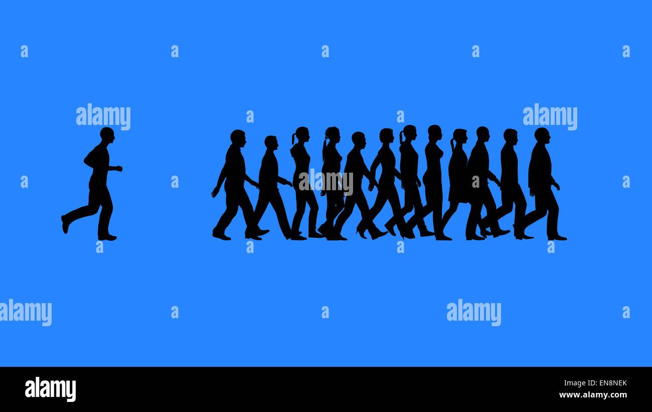 Mantener el ritmo con el equipo. Siluetas de personas. Funciona como un concepto de equipo. Imagen De Stock