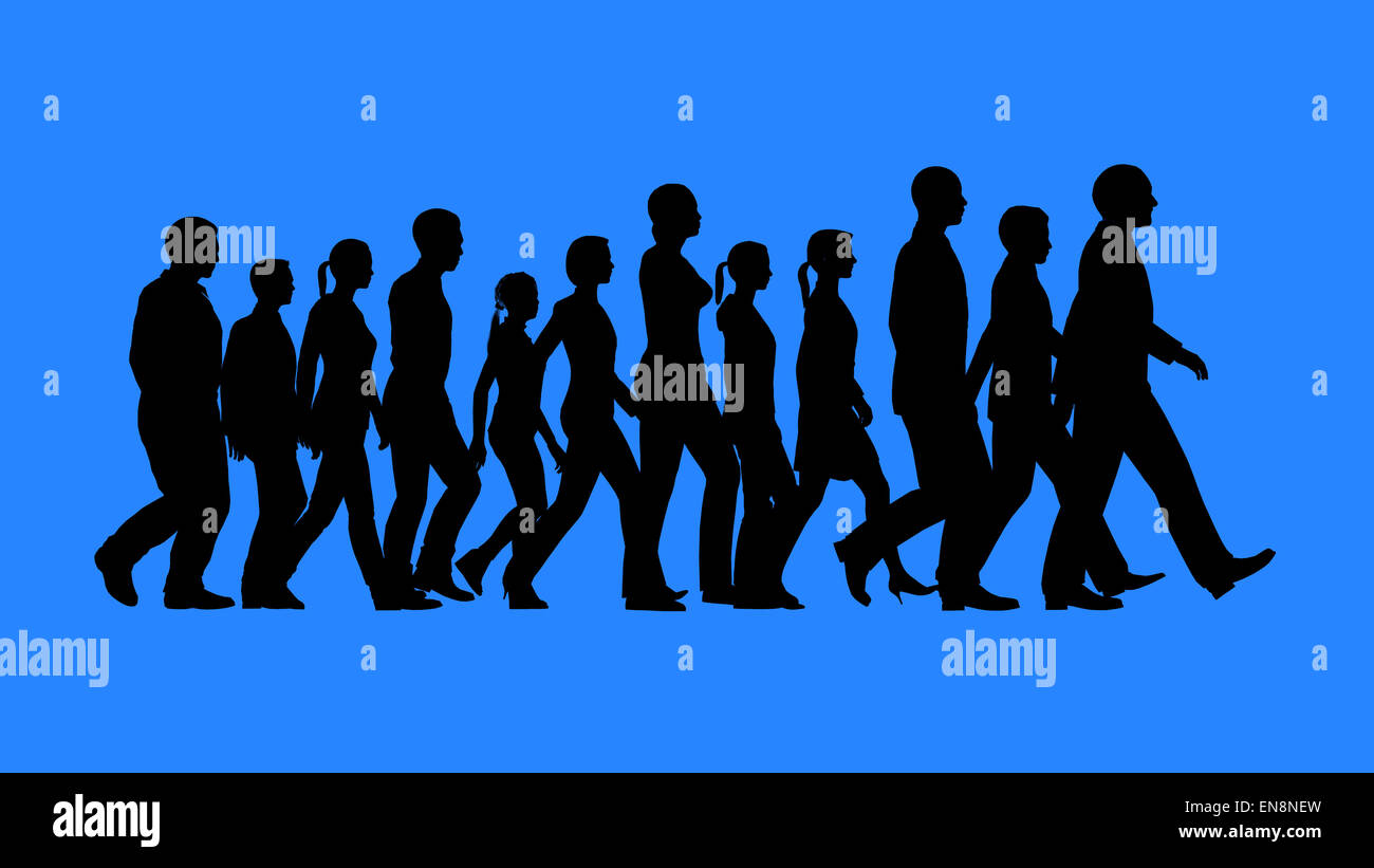 Grupo de gente caminando siluetas aislado sobre fondo azul. Funciona como un concepto de equipo. Imagen De Stock