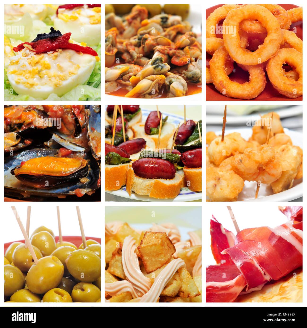 Un collage de nueve fotografías de diferentes tapas españolas, como los calamares a la romana (rabas), mejillones a la marinera (mu Foto de stock