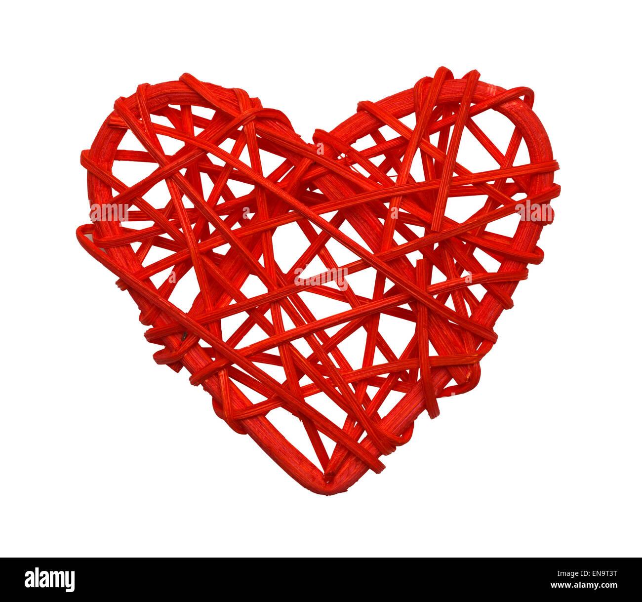 Vid de madera roja corazón aislado sobre fondo blanco. Imagen De Stock