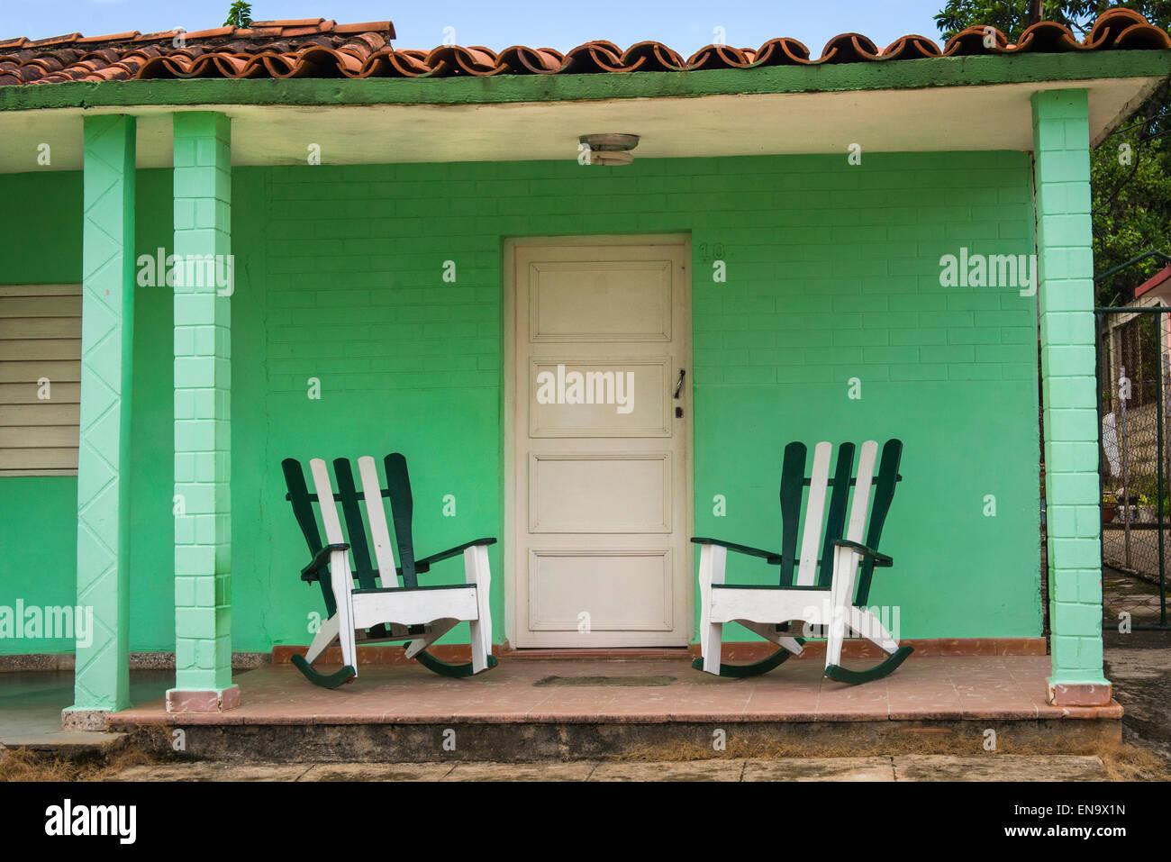 Cuba Viñales Pórtico Verde Porticada Casa Colonial Con
