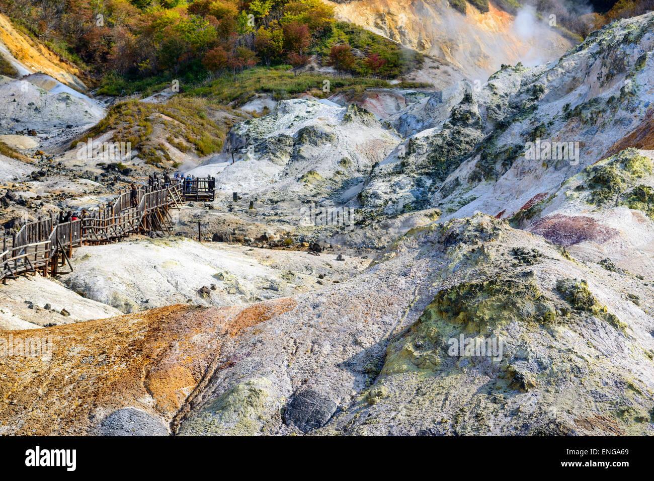 """Noboribetsu, Hokkaido, Japón en el """"Valle del Infierno"""". Imagen De Stock"""