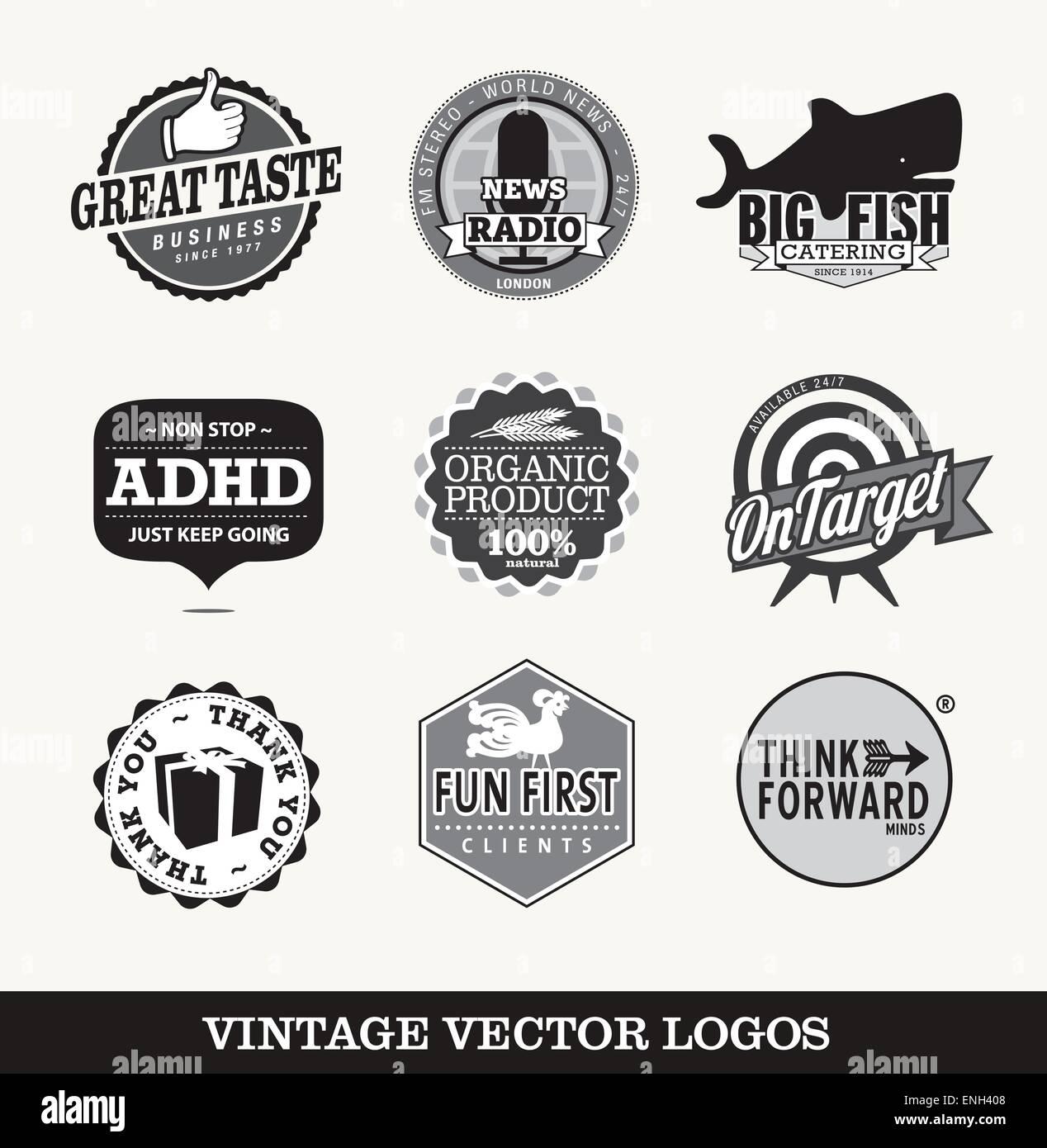 Vintage símbolos vectoriales logotipos Imagen De Stock