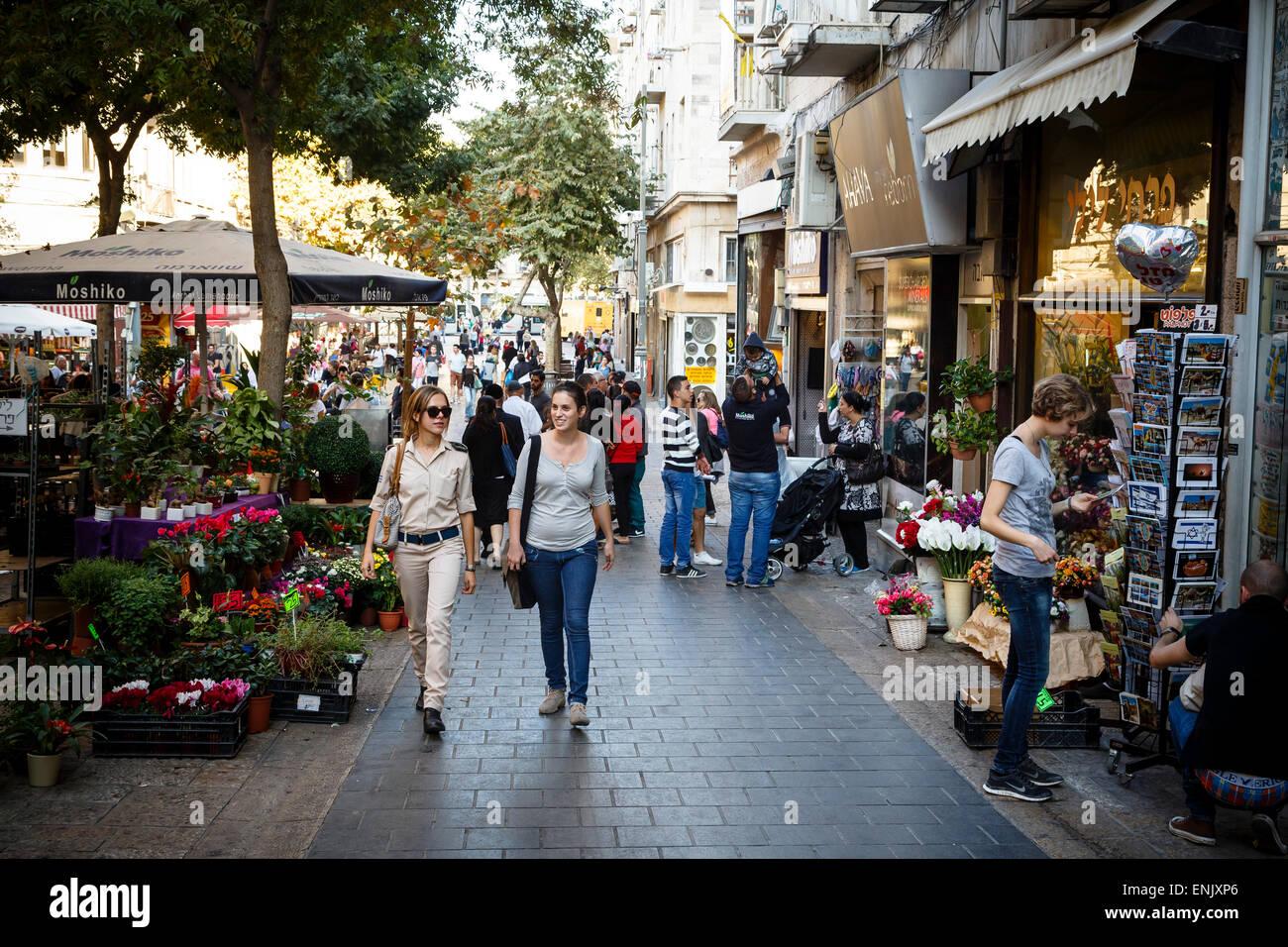 Calle peatonal Ben Yehuda, en Jerusalén, Israel, Oriente Medio Imagen De Stock