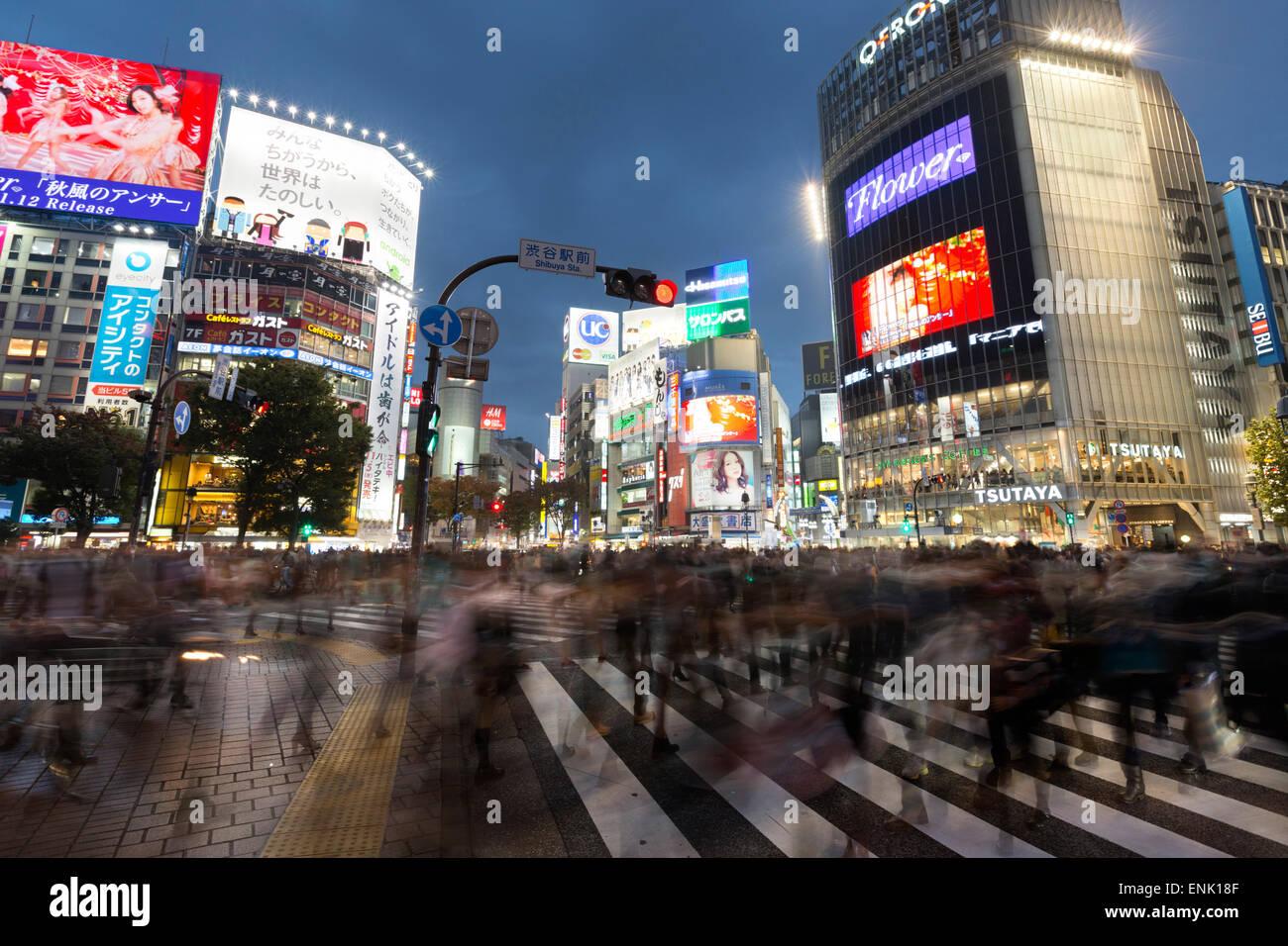 Letreros de neón y cruce peatonal (codificar) por la noche, la estación de Shibuya, Shibuya, Tokio, Japón, Asia Foto de stock