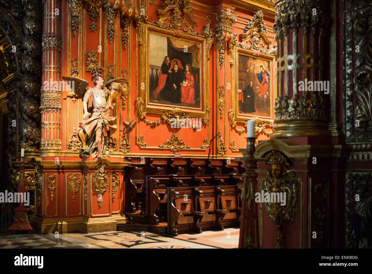 Brasil, Rio de Janeiro, vista del interior del San Benito (Sao Bento) monasterio Foto de stock