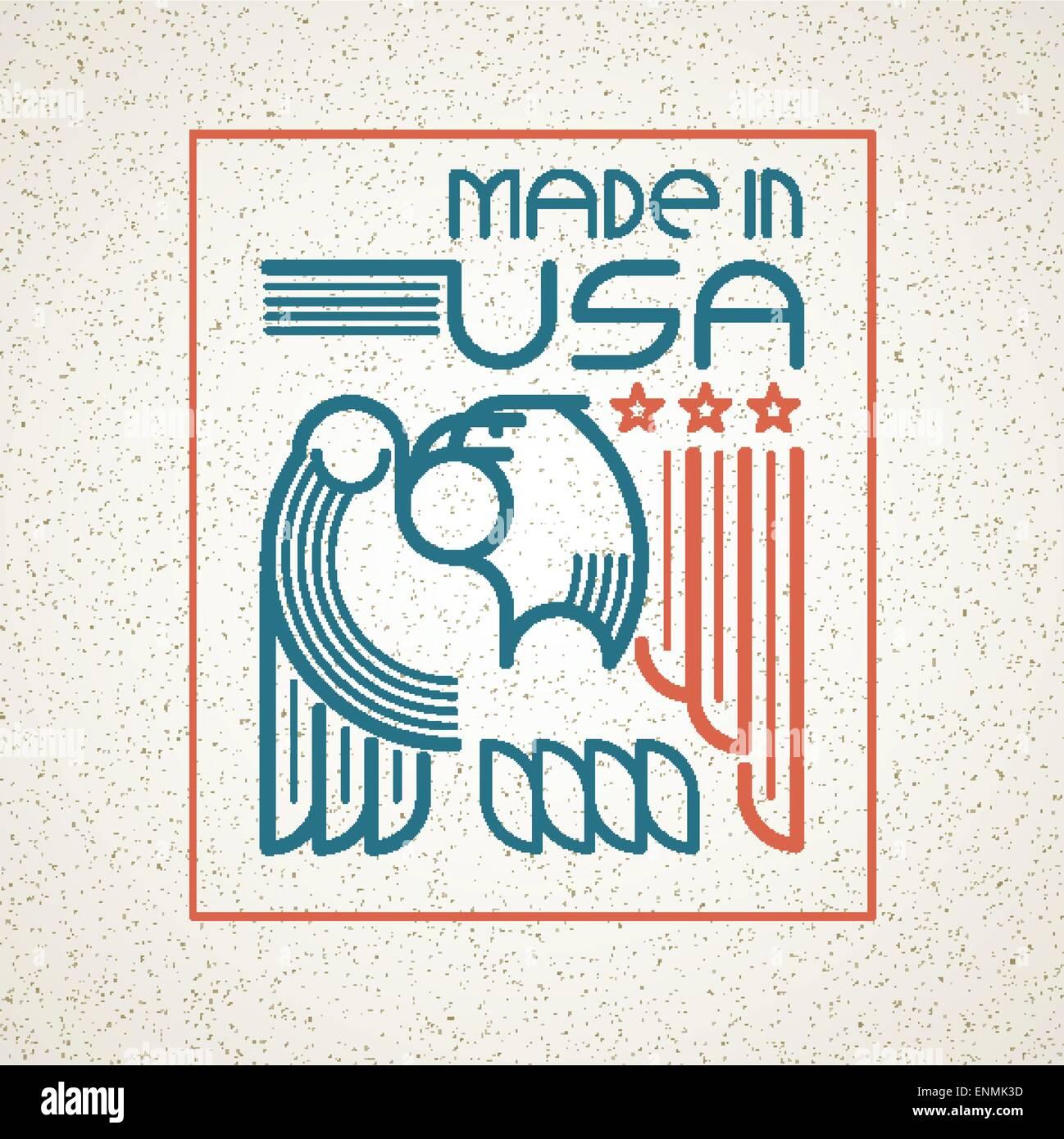 Fabricado en EE.UU. Símbolo con bandera americana y eagle emblemas ...
