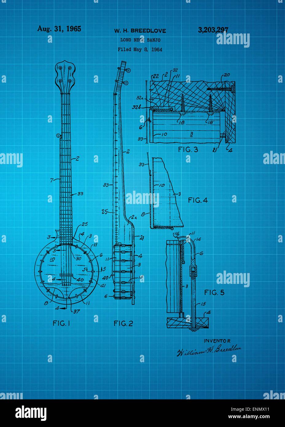Cuello largo patente Banjo desde 1964 Vintage ilustraciones patentes gran presentación en ambos ajustes personales y corporativas oficinas ie/ c Foto de stock