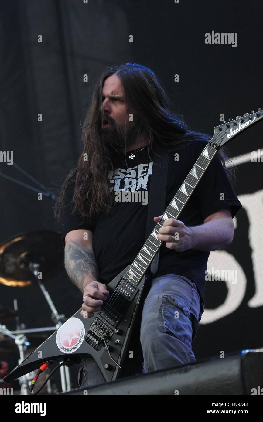 Las Vegas, NV, EE.UU.. 9 de mayo de 2015. Andreas Kisser de Sepulture al escenario de Rock in Rio USA 2015 - SAT, Imagen De Stock
