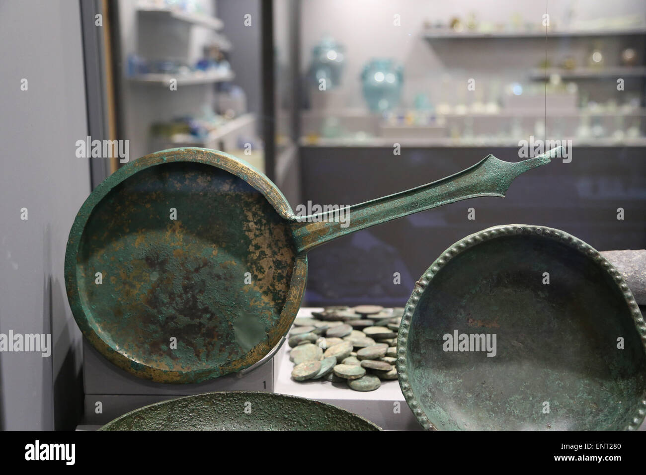 El arte romano. Espejo. 3ª-2ª C. BC. Museo Nacional Romano. Palacio Altemps. Roma. Italia. Imagen De Stock