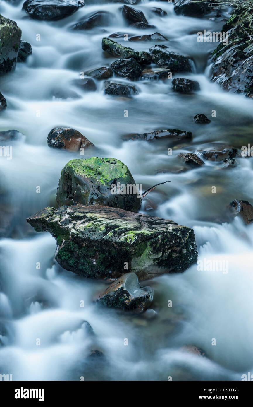 El agua que fluye hacia abajo Polmaddy quemar, Dumfries y Galloway, Escocia, Reino Unido Imagen De Stock