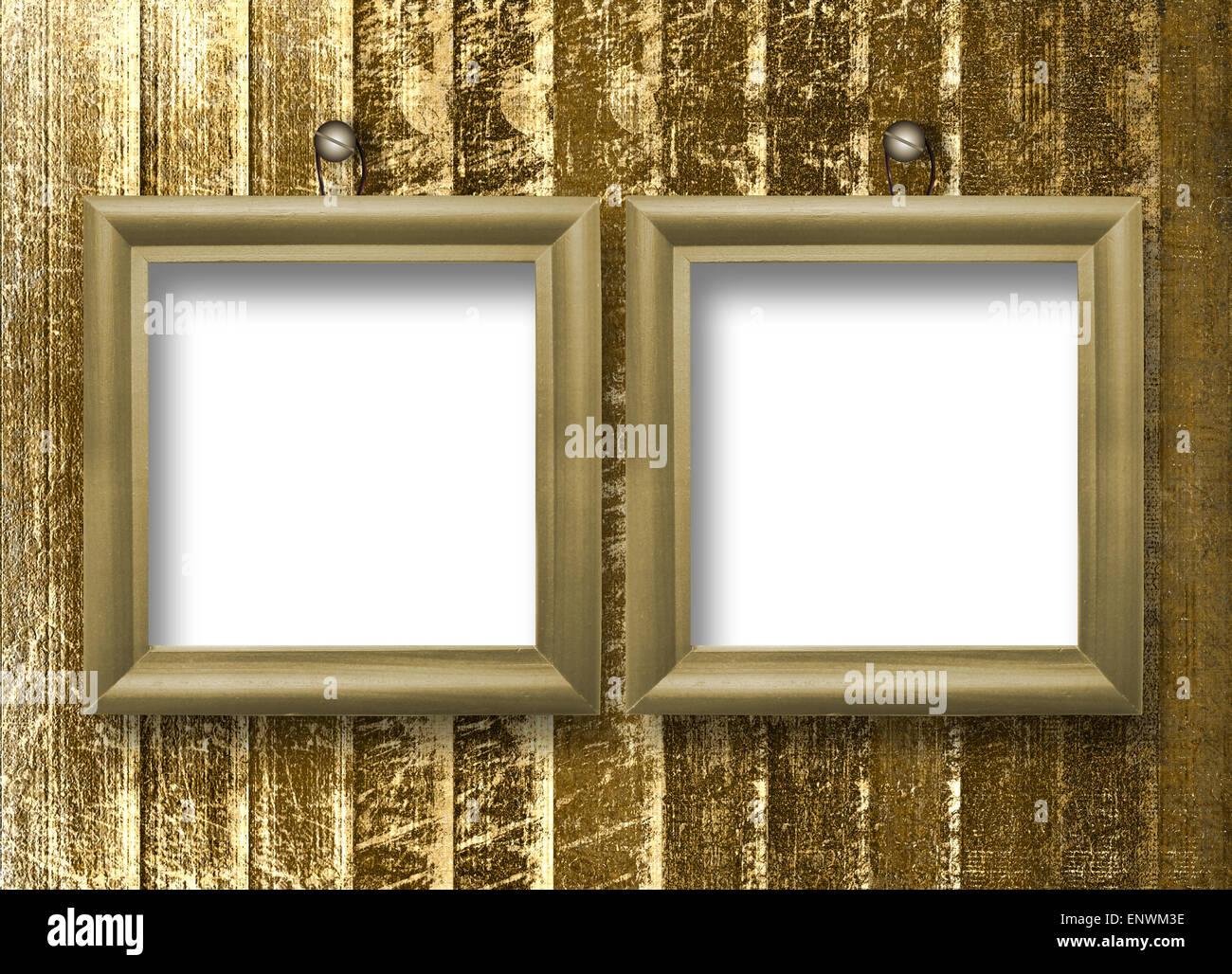 Dos marcos de madera para hacer retratos en el fondo rayado Foto ...