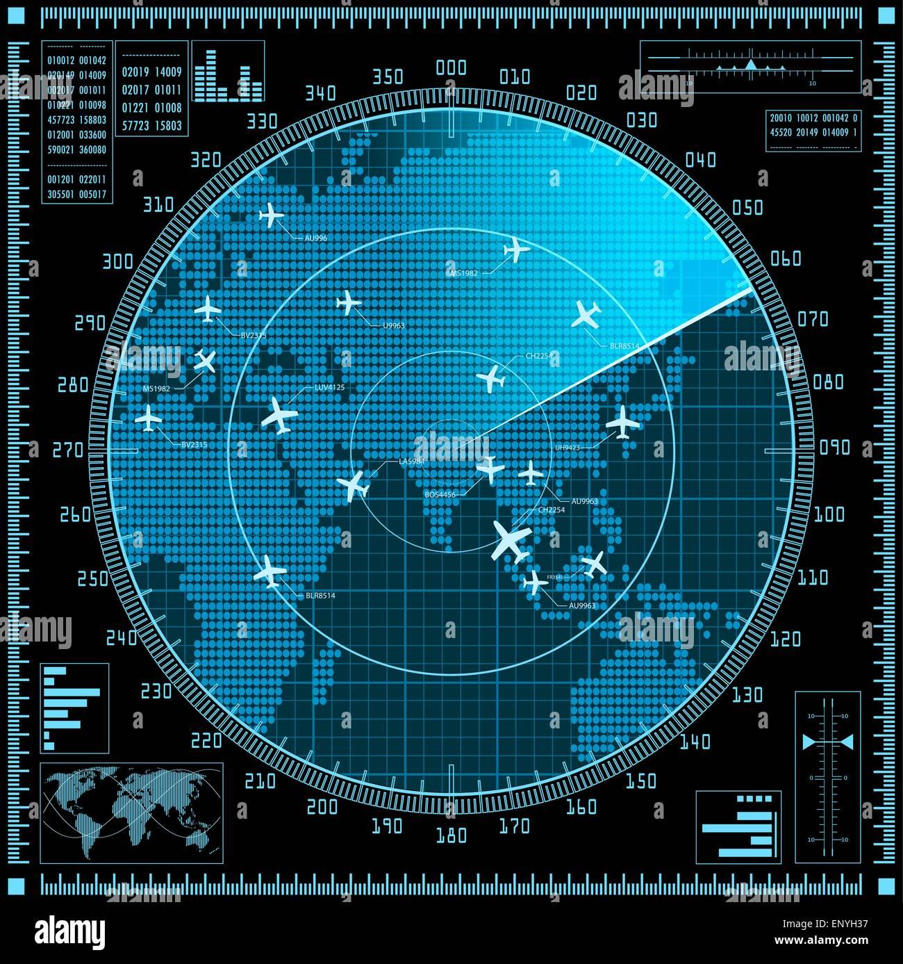 Pantalla De Radar Azul Con Planos Y Mapa Del Mundo Vector Eps10