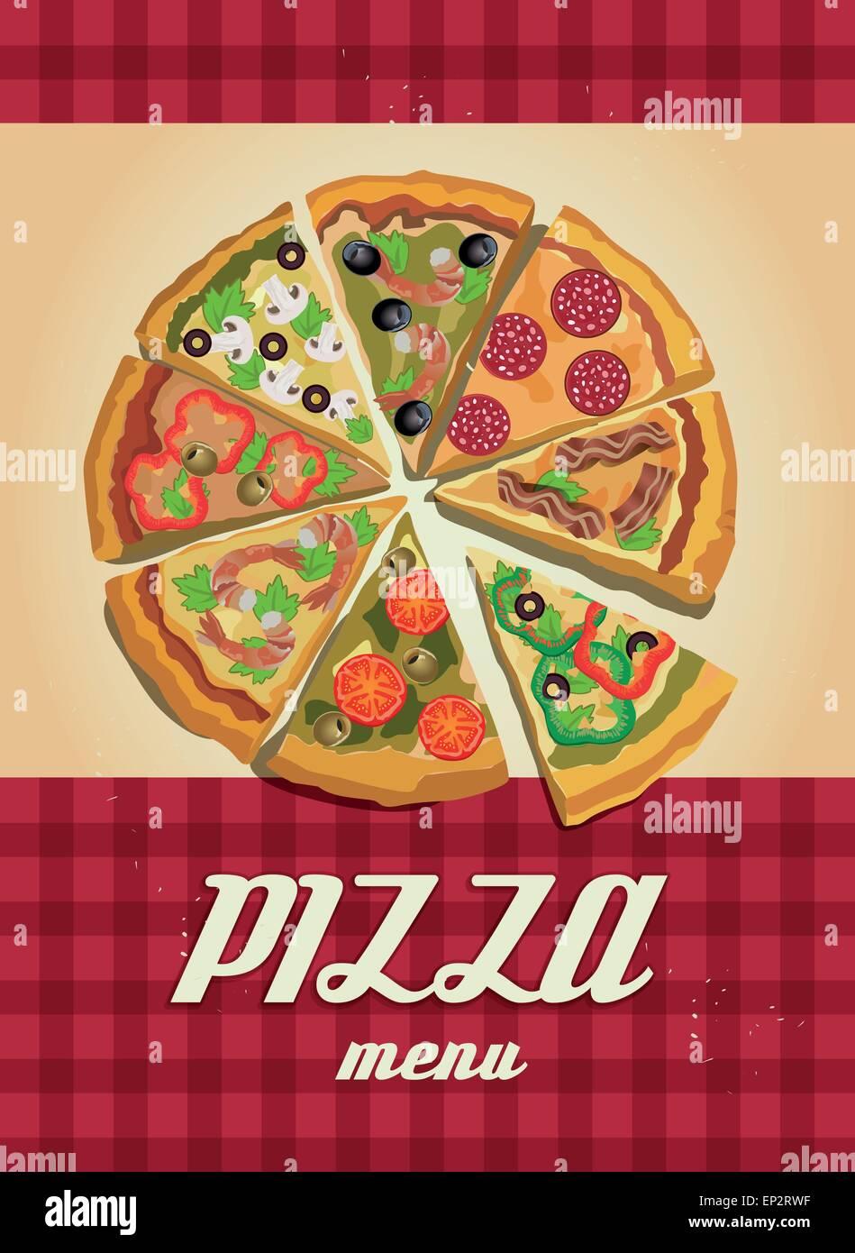 Pizza de vectores o etiqueta Poster - Plantilla de diseño. Pizza ...