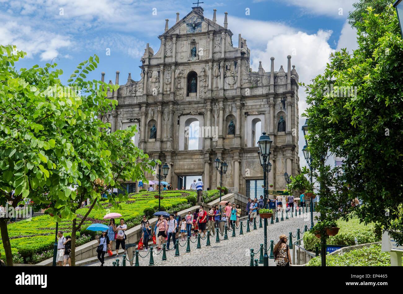La ruina de la Iglesia de Sao Paulo, el casco antiguo de la ciudad de Macao, China Imagen De Stock
