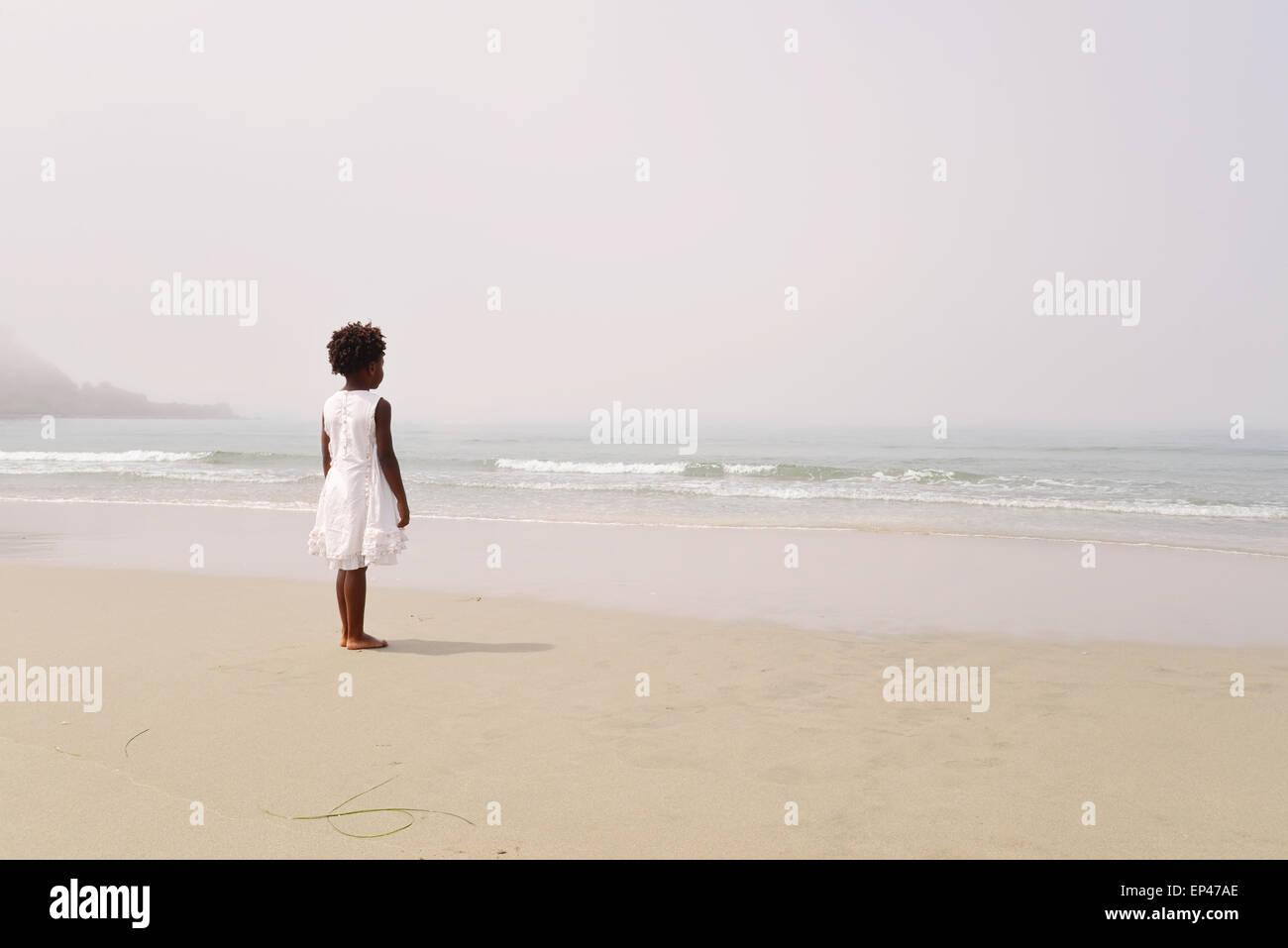 Vista trasera del African American Girl en la playa mirando al mar Imagen De Stock