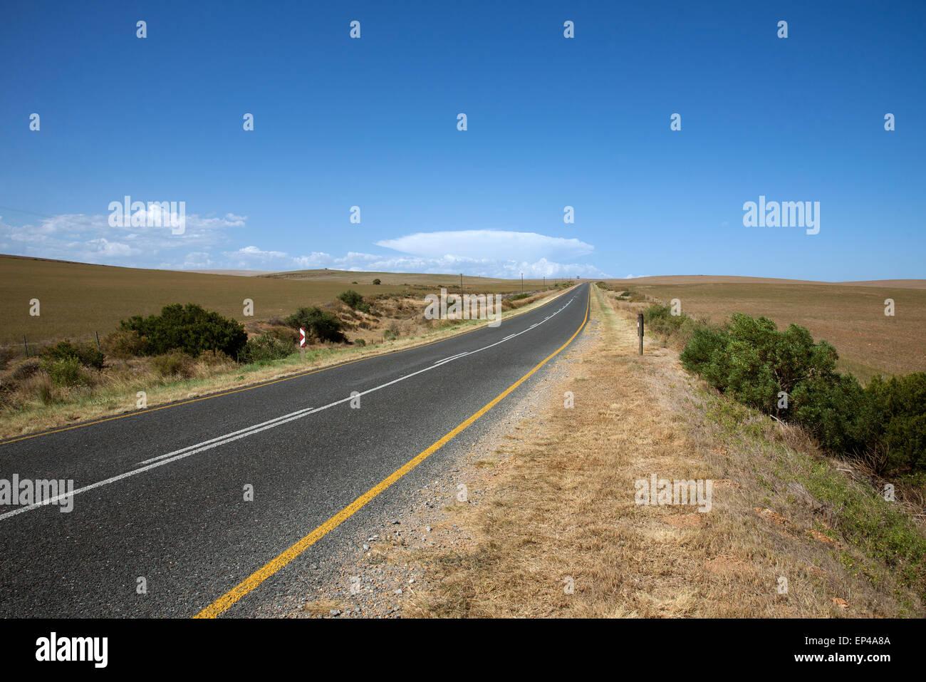 Abrir carretera sin tráfico que pasa a través de la zona del Cabo Occidental de Sudáfrica Foto de stock