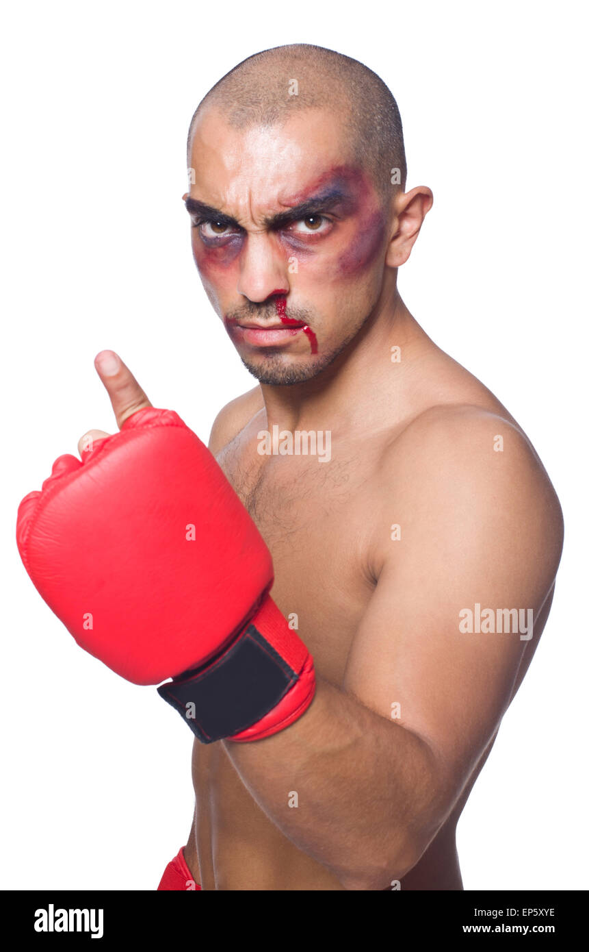Golpeado boxeador aislado en blanco Foto de stock