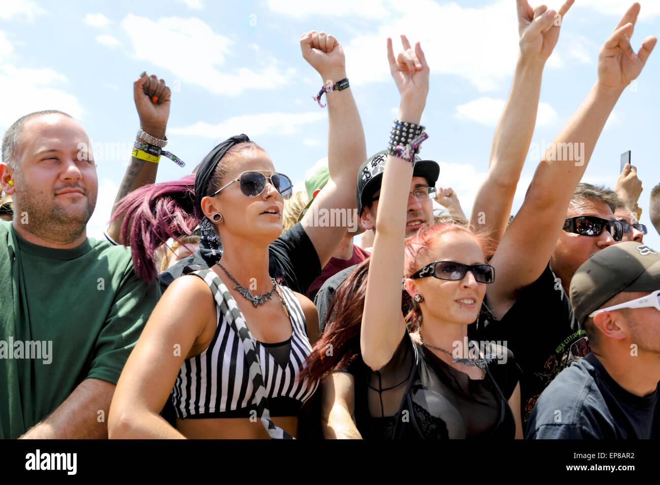 La rebelión de 2015 Monster Energy Carolina Music Festival, multitud, audiencia, ventiladores, personas. Imagen De Stock