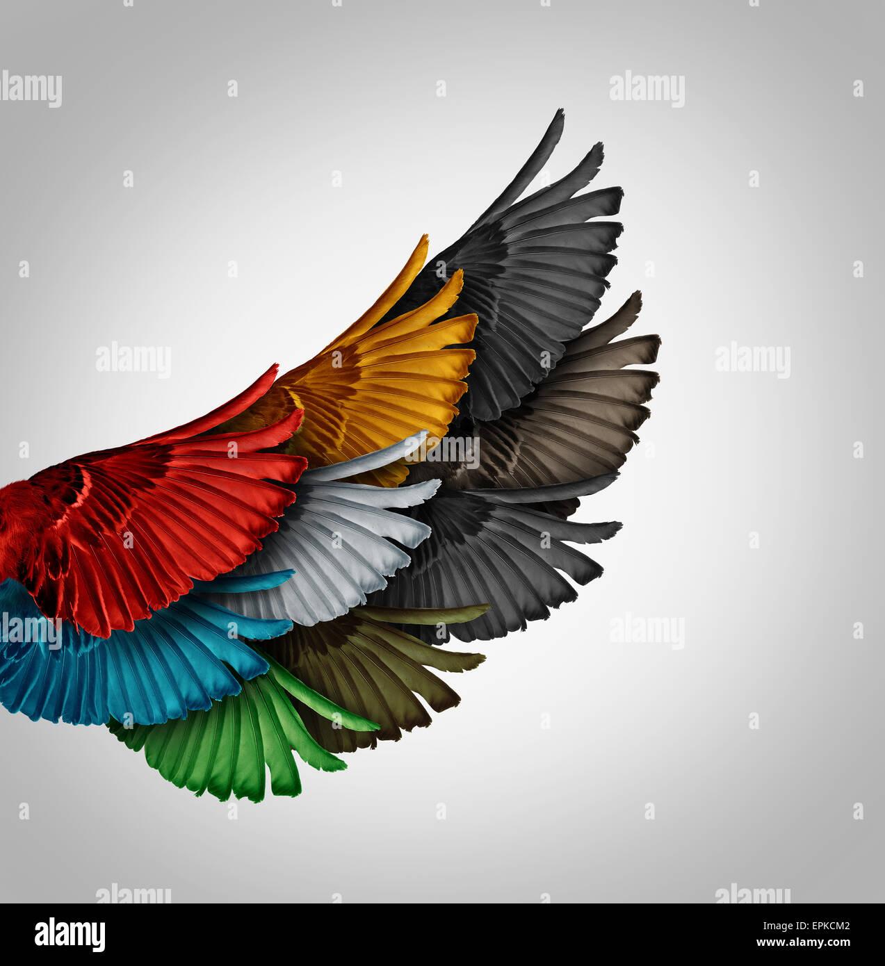 Concepto de alianza y la idea de negocio trabajando juntos como un grupo diverso de aves de alas venir como uno Imagen De Stock