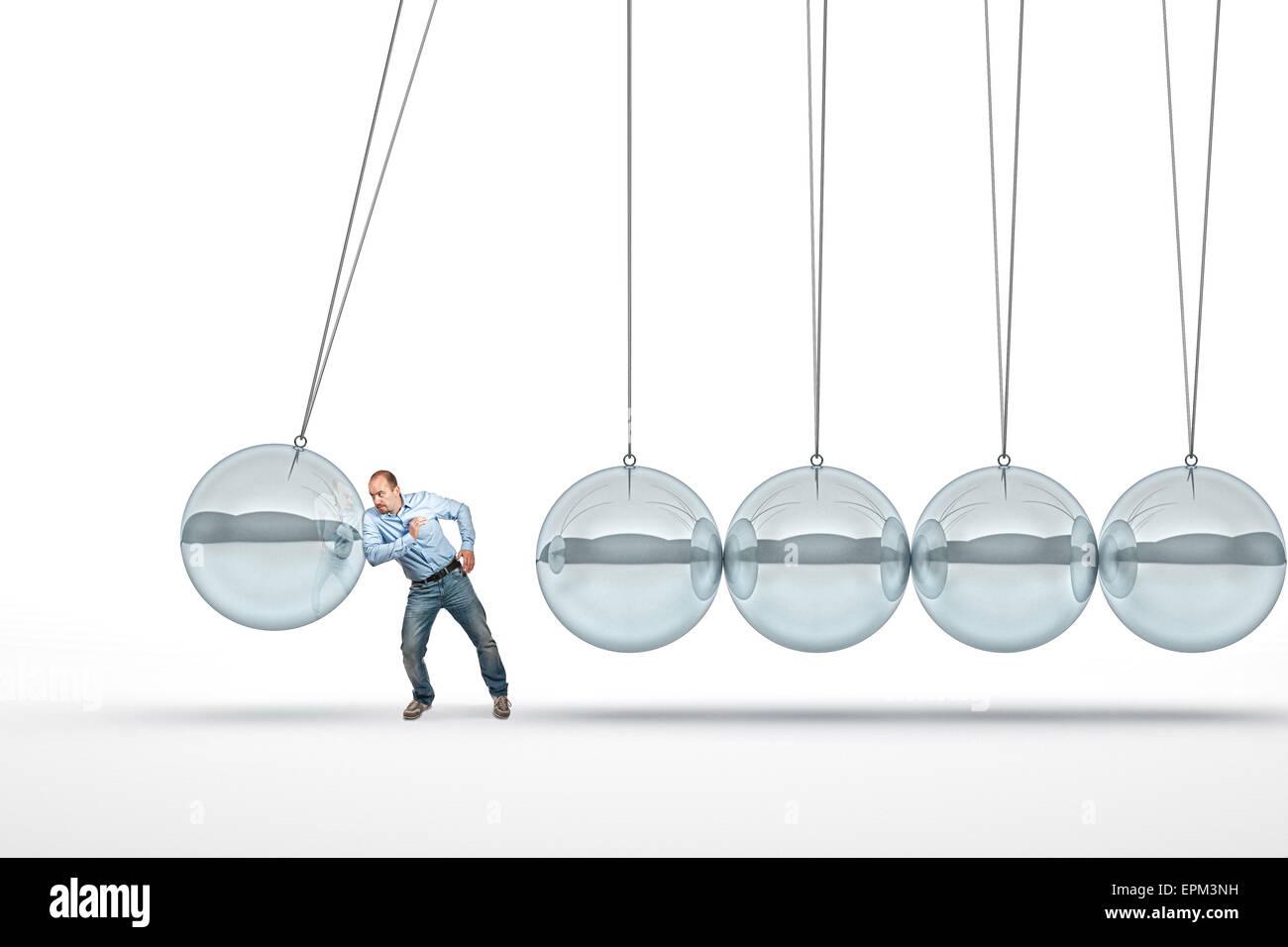 Empuje empresario abstracto 3d Cuna de Newton Imagen De Stock
