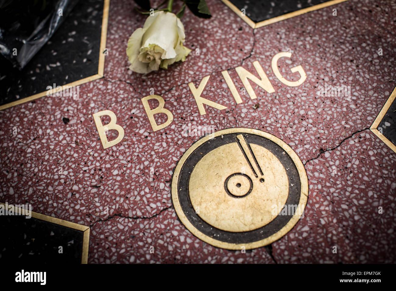 B.B. El rey estrella en el Paseo de la Fama de Hollywood el día después de que el legendario músico Imagen De Stock