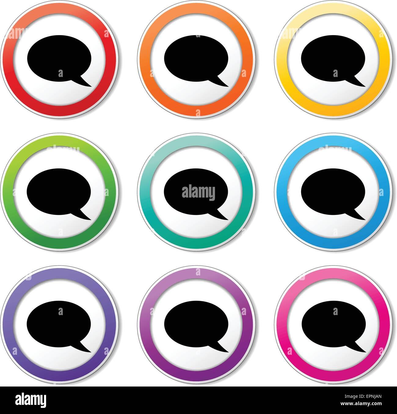 Ilustración de distintos colores de burbujas de voz iconos Imagen De Stock