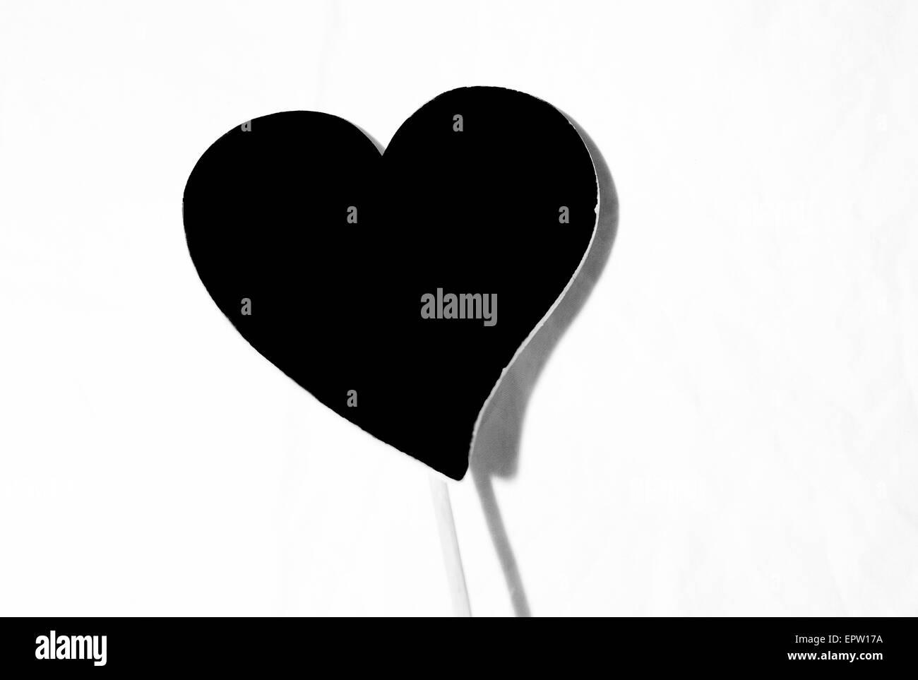 Romántico Corazón Blanco Y Negro En Un Palo Foto Imagen De Stock