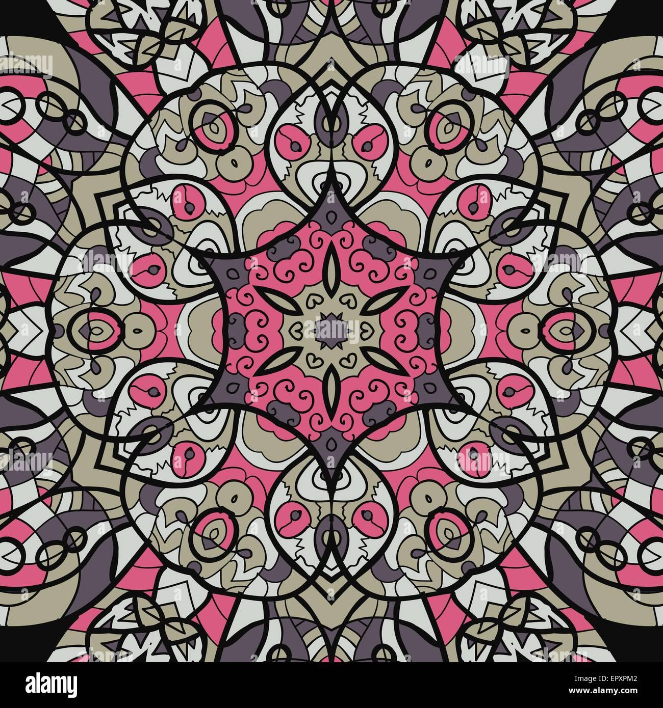 Rosa y marrón perfecta mandala ornamento. La plantilla de menú, tarjetas de felicitación, invitación Imagen De Stock