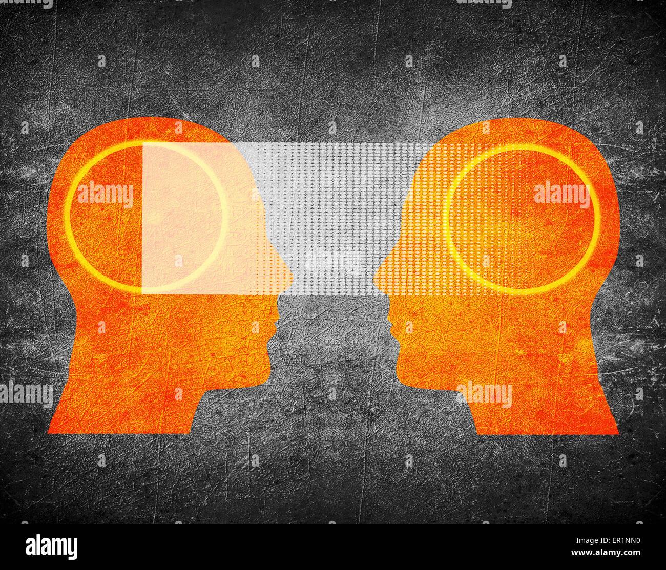 Telepatía concepto ilustración digital Imagen De Stock