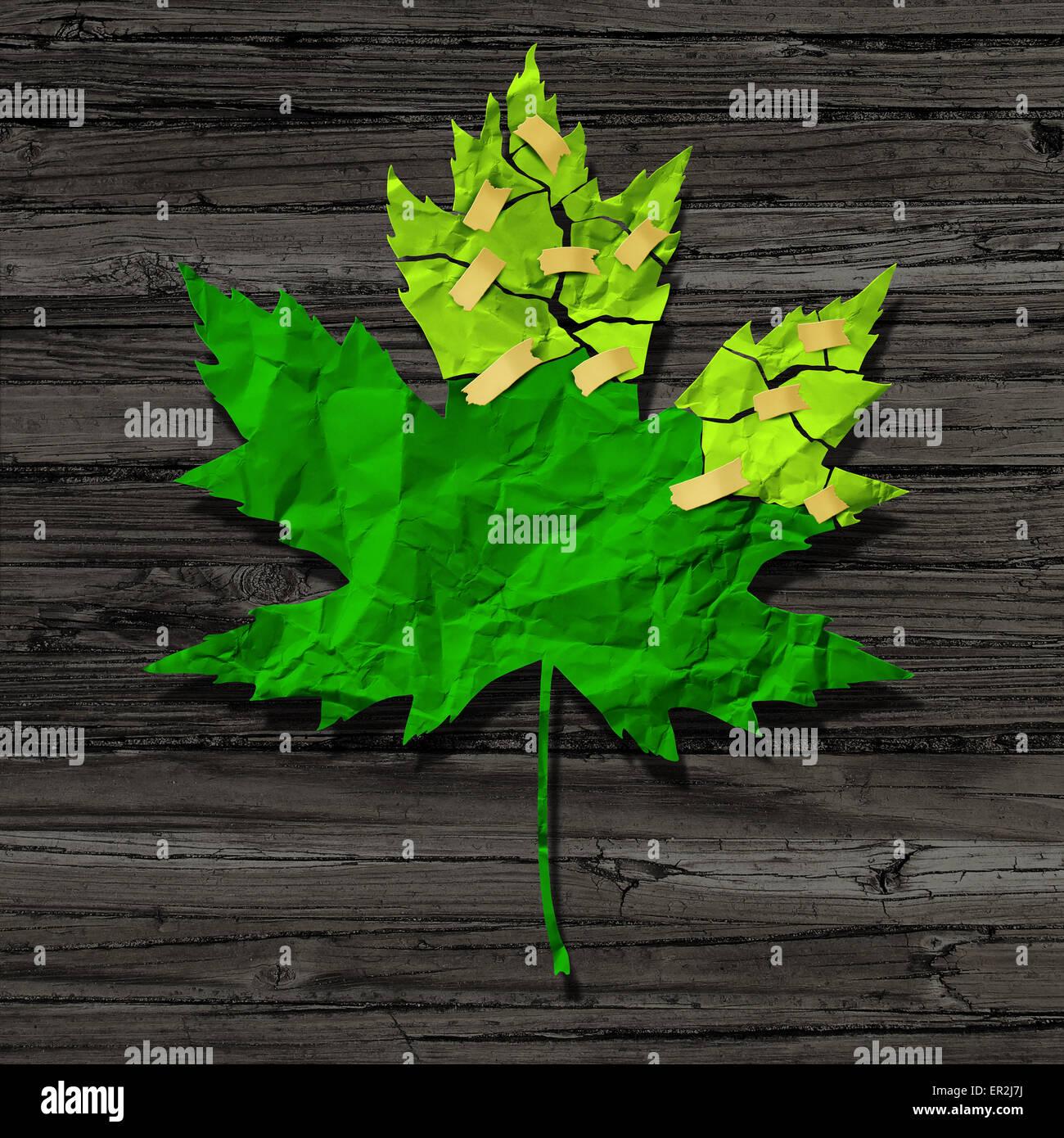 Concepto de preservación ambiental como un recorte de papel arrugado verde torne roto reparado con cinta como Imagen De Stock