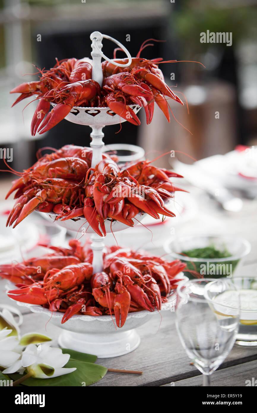 Tener una fiesta de verano con un montón de cangrejos Foto de stock