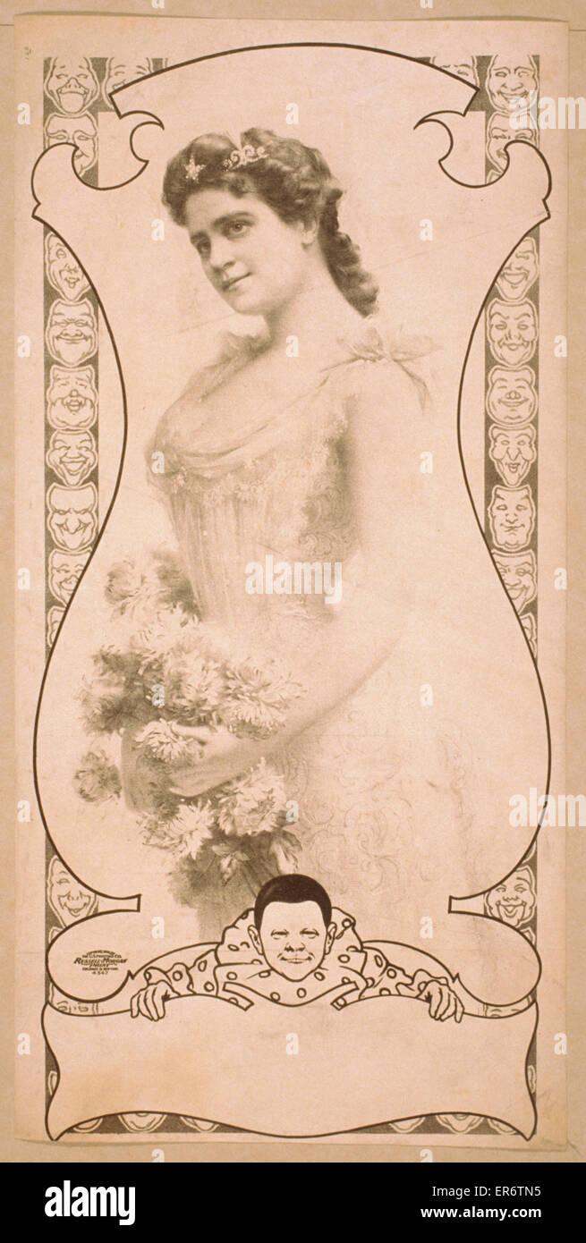 Las tres cuartas partes vista de mujer sosteniendo flores. Fecha c1900. Imagen De Stock
