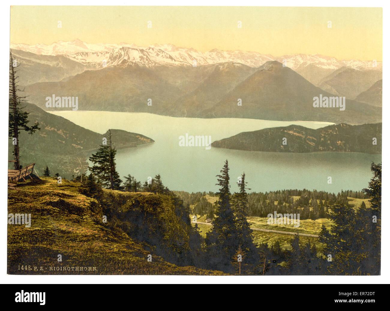 Rigi Rothhorn, vista de Vitznau y los Alpes, Rigi, Suiza. Fecha entre ca. 1890 y ca. 1900. Imagen De Stock